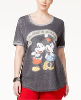 Hybrid Trendy Plus Size Mickey & Minnie Graphic T-Shirt