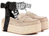 Miu Miu Suede platform espadrille loafers
