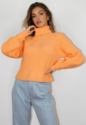 Missguided Orange Tuck Sleeve Turtle Neck Cropped Sweater