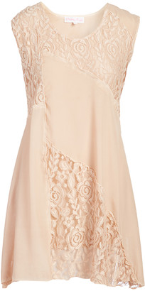 Pretty Angel Women's Casual Dresses PEACH(PH) - Peach Lace-Panel Silk-Blend Scoop Neck Dress - Women