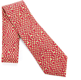 Hermes Gold & Red Checkered Silk Necktie