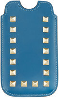 Valentino Rockstud Leather Cell Phone Pouch, Blue