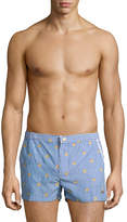 Parke & Ronen Men's Angeleno Embroidered Seersucker Swim Trunks