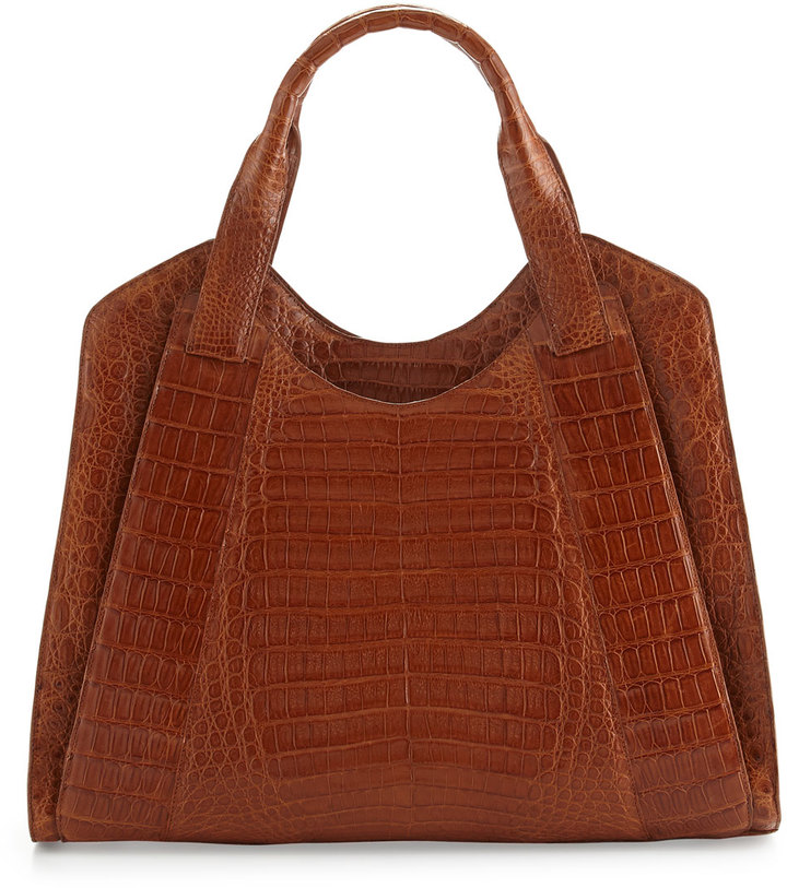 Nancy Gonzalez Crocodile Satchel Bag, Brown