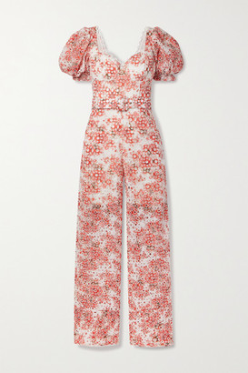 Charo Ruiz Ibiza Pippa Belted Printed Broderie Anglaise Cotton-blend Jumpsuit - Coral