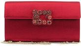 Roger Vivier Floral Crystal-Buckle Clutch Bag, Red