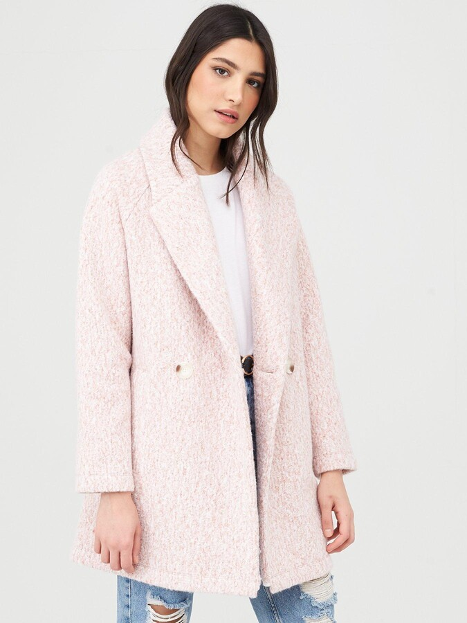 Thumbnail for your product : Very Double Breasted Relaxed Coat - Pink Marl
