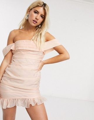 In The Style x Fashion Influx organza ruched bardot mini dress in soft peach
