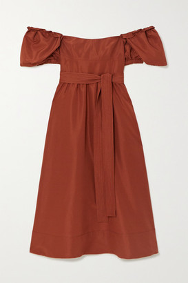 Self-Portrait Belted Taffeta Midi Dress - Brown