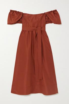 Self-Portrait Belted Taffeta Midi Dress - Brown