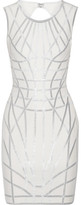 Herve Leger Romee Metallic-trimmed Stretch Jacquard-knit Dress - Off-white