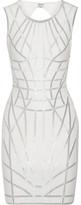 Herve Leger Romee Metallic-trimmed Stretch Jacquard-knit Dress - Off-white