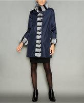 The Fur Vault Rabbit-Fur-Trim Silk Reversible Coat