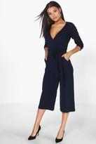 boohoo Roll Sleeve Relaxed Culotte Jumpsuit