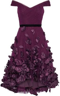 Marchesa Off-the-shoulder Velvet-trimmed Floral-appliqued Tulle Dress