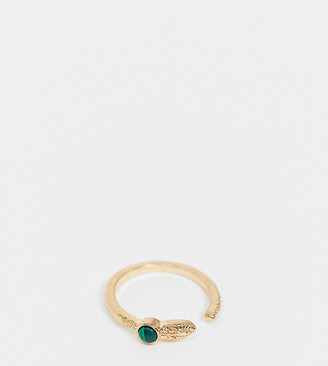 ASOS DESIGN Curve ring with wraparound snake with green malachite stone in gold tone