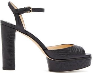 Jimmy Choo Peachy 105 Crocodile-effect Leather Platform Heels - Womens - Black