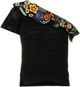 Fendi embroidered one shoulder top - women - Silk/Cotton/Polyester/glass - 38