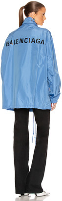 Balenciaga Logo Windbreaker Jacket in Sky Blue   FWRD
