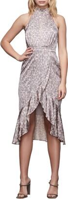 Good American Leopard Print Halter Dress