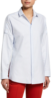 Akris Punto Striped Button-Sleeve Tunic
