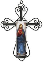 The Saints Collection Cross Wall Sconce & Jesus LED Prayer Candle