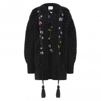 Hayley Menzies Embroidered Black Gloria Midi Alpaca Cardi - S