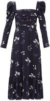 Thumbnail for your product : Self-Portrait Square-neck Floral-print Midi Dress - Navy Print
