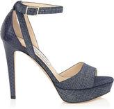 Jimmy Choo KAYDEN Denim Leather and Elaphe Platform Sandals