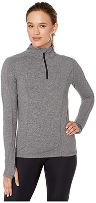 Melange Home Jockey Active 1/2 Zip Long Sleeve Top with Thumbholes (Deep Black Women's Clothing