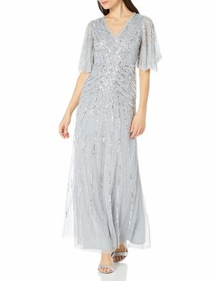 Adrianna Papell Women's Flutter Sleeve Beaded Gown