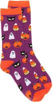 K. Bell Women's Halloween Women's's Crew Socks -Purple/Orange