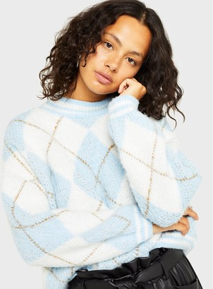 Miss Selfridge Blue Argyle Knitted Jumper
