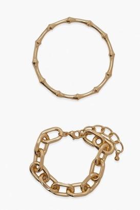 boohoo Bamboo And Chunky Chain Bracelet Set