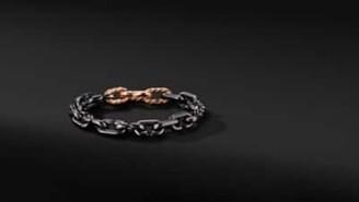 David Yurman Cable Link Chain Bracelet In Grey Titanium With 18K