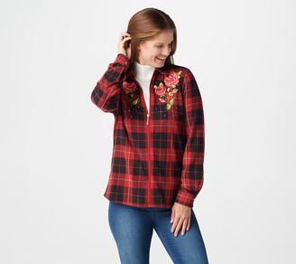 Factory Quacker Rose Embroidered Plaid Zip Big Shirt