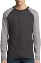 ST. JOHN'S BAY St. John's Bay Long-Sleeve Baseball Henley Shirt