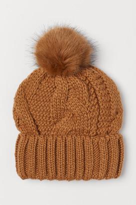 H&M Knit Wool-blend Hat - Beige