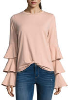 BELLE + SKY Tiered Long Sleeve Twist Front Top