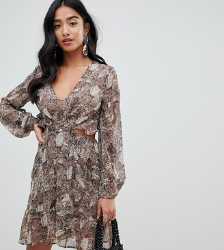 ASOS DESIGN Petite long sleeve mini dress with open back in snake print with ruffle details
