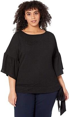 MICHAEL Michael Kors Size Pin Tuck Side Tie Top (Black) Women's Clothing