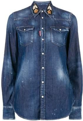 DSQUARED2 embroidered collar denim shirt