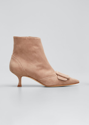 Manolo Blahnik Baylow Suede Buckle Ankle Booties, Nude