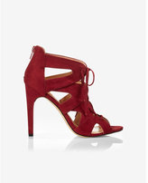 Express faux suede ghillie heeled sandal