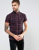 Asos Skinny Printed Check Shirt In Purple