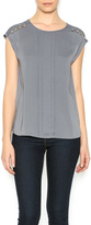 Naked Zebra Charcoal Pleated Top