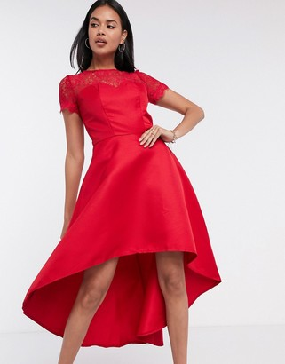 Chi Chi London high low dress with lace detail in red