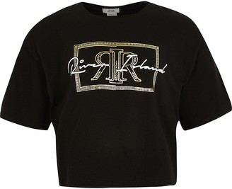 River Island Girls black RI print t-shirt