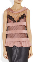 Moschino Striped silk-satin and tulle top