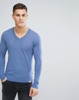 Tommy Hilfiger Sweater with V-Neck In Blue